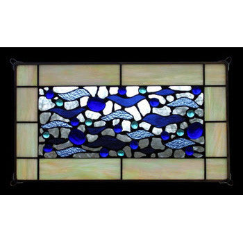 Edel Byrne Beige Border Wave Stained Glass Panel, Artistic Artisan Designer Stain Glass Window Panels
