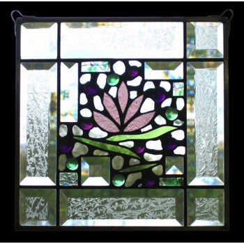 Edel Byrne Bevel-2 Border Floral Stained Glass Panel, Artistic Artisan Designer Stain Glass Window Panels