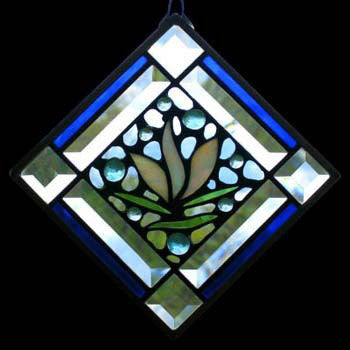 Edel Byrne Bevel Cobalt Border Floral Stained Glass Panel, Artistic Artisan Designer Stain Glass Window Panels