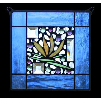 Edel Byrne Blue Waterglass Border Floral Stained Glass Panel, Artistic Artisan Designer Stain Glass Window Panels