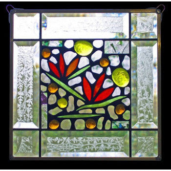 Edel Byrne Clear Bevel Border Floral Stained Glass Panel-1, Artistic Artisan Designer Stain Glass Window Panels