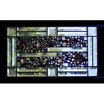 Edel Byrne Clear Bevel Border Floral Stained Glass Panel-2, Artistic Artisan Designer Stain Glass Window Panels