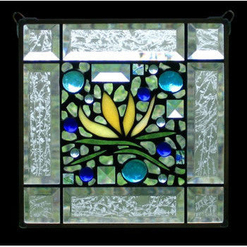 Edel Byrne Clear Bevel Border Yellow Floral Stained Glass Panel, Artistic Artisan Designer Stain Glass Window Panels