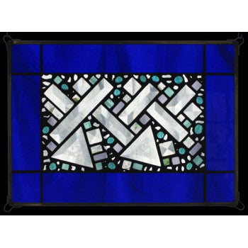 Edel Byrne Cobalt Antique Border Geometric Stained Glass Panel, Artistic Artisan Designer Stain Glass Window Panels