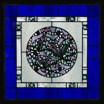 Edel Byrne Cobalt Blue Border Geometric Stained Glass Panel, Artistic Artisan Designer Stain Glass Window Panels