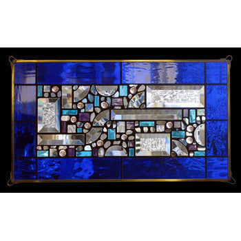 Edel Byrne Cobalt Blue-Water Glass Border Geometric Stained Glass Panel, Artistic Artisan Designer Stain Glass Window Panels