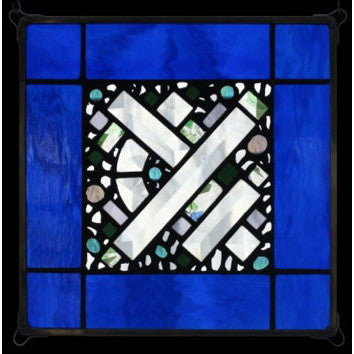 Edel Byrne Cobalt Border Geometric Stained Glass Panel, Artistic Artisan Designer Stain Glass Window Panels