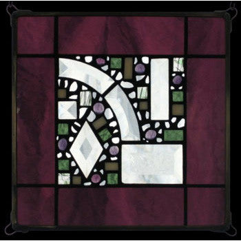 Edel Byrne Dark Wine Border Geometric Stained Glass Panel, Artistic Artisan Designer Stain Glass Window Panels