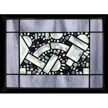 Edel Byrne Lilac Antique Border Geomeric Stained Glass Panel, Artistic Artisan Designer Stain Glass Window Panels