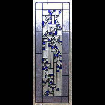 Edel Byrne Lilac Border Geometric Stained Glass Panel, Artistic Artisan Designer Stain Glass Window Panels