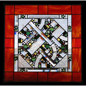 Edel Byrne Red Orange Border Geometric Stained Glass Panel, Artistic Artisan Designer Stain Glass Window Panels
