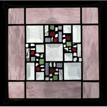Edel Byrne Rose Water Glass Border Stained Glass Panel, Artistic Artisan Designer Stain Glass Window Panels