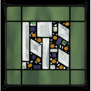 Edel Byrne Sage Border Geometric Stained Glass Panel, Artistic Artisan Designer Stain Glass Window Panels