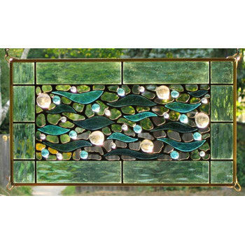 Edel Byrne Sea Green Border Aqua Waves Stained Glass Panel, Artistic Artisan Designer Stain Glass Window Panels