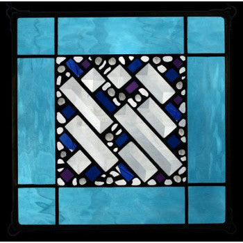 Edel Byrne Sky Blue Border Geometric Stained Glass Panel, Artistic Artisan Designer Stain Glass Window Panels