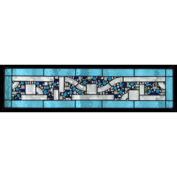Edel Byrne Sky Blue Water Border Geometric Stained Glass Panel, Artistic Artisan Designer Stain Glass Window Panels
