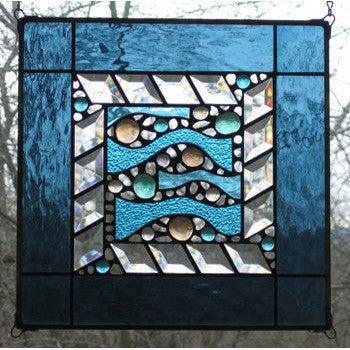 Edel Byrne Steel Blue Border Wave Stained Glass Panel, Artistic Artisan Designer Stain Glass Window Panels