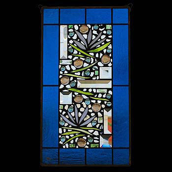 Edel Byrne Turquoise Border Floral Stained Glass Panel, Artistic Artisan Designer Stain Glass Window Panels