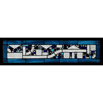 Edel Byrne Two Blue Water Border Geometric Stained Glass Panel, Artistic Artisan Designer Stain Glass Window Panels