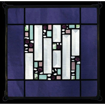 Edel Byrne Violet Antique Border Geometric Stained Glass Panel, Artistic Artisan Designer Stain Glass Window Panels