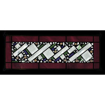 Edel Byrne Wine Antique Border Geometric Stained Glass Panel, Artistic Artisan Designer Stain Glass Window Panels