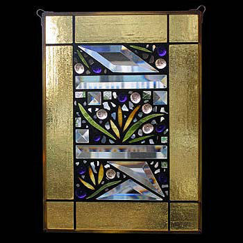 Edel Byrne Yellow Border Floral Stained Glass Panel, Artistic Artisan Designer Stain Glass Window Panels