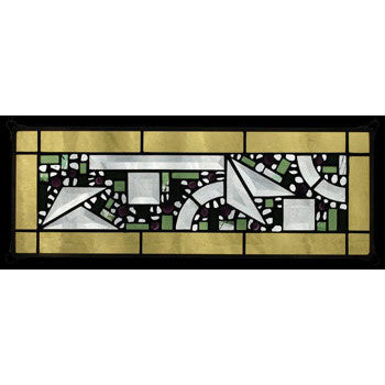 Edel Byrne Yellow Border Geometric Stained Glass Panel, Artistic Artisan Designer Stain Glass Window Panels