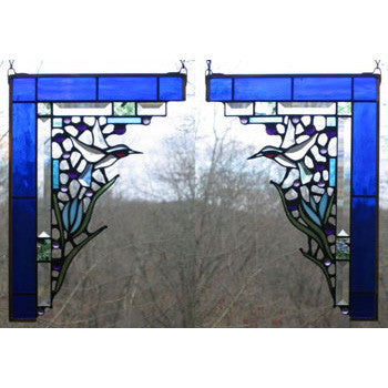 Edel Byrne Cobalt Blue Hummingbird Corner Pair Stained Glass Panels, Artistic Artisan Designer Stain Glass Window Panels