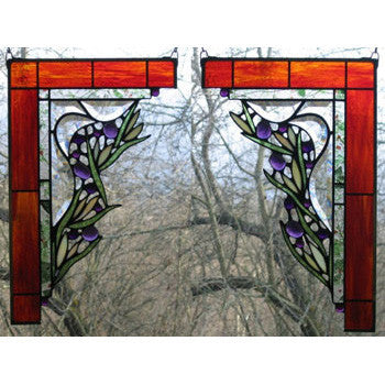 Edel Byrne Large Floral Corner Pair Stained Glass Panels, Artistic Artisan Designer Stain Glass Window Panels