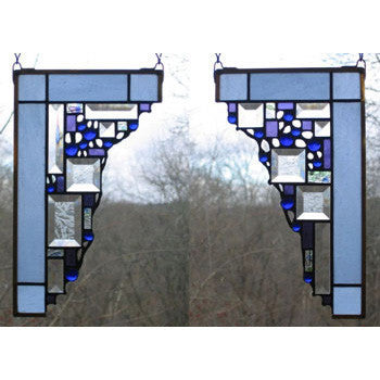 Edel Byrne Light Blue Small Geometric Corner Pair Stained Glass Panels, Artistic Artisan Designer Stain Glass Window Panels