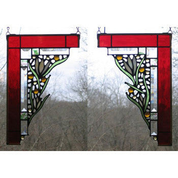 Edel Byrne Ruby Medium Floral Corner Pair Stained Glass Panels, Artistic Artisan Designer Stain Glass Window Panels