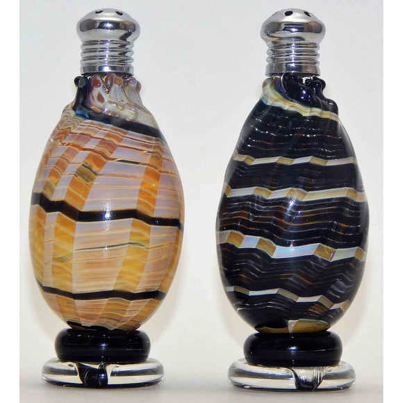 Four Sisters Art Glass Black and Cream Spiral Blown Glass Salt and Pepper Shaker 208 Artistic Glass Salt and Pepper Shakers