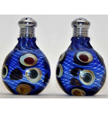 Four Sisters Art Glass Blue Dotted Blown Glass Salt and Pepper Shaker 305 Artistic Handblown Art Glass