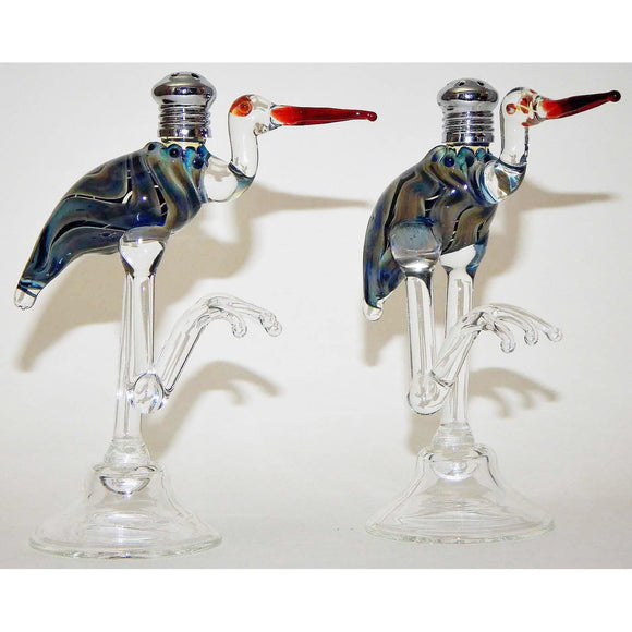 Four Sisters Art Glass Blue Heron Blown Glass Salt and Pepper Shaker 107 Artistic Handblown Art Glass