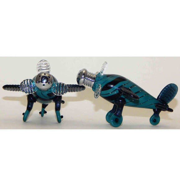 Four Sisters Art Glass Blue and Aqua Airplane Blown Glass Salt and Pepper Shaker 207 Artistic Handblown Art Glass