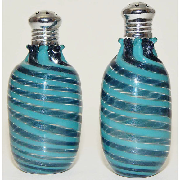 Four Sisters Art Glass Blue and Aqua Cylinder Blown Glass Salt and Pepper Shaker 213 Artistic Handblown Art Glass