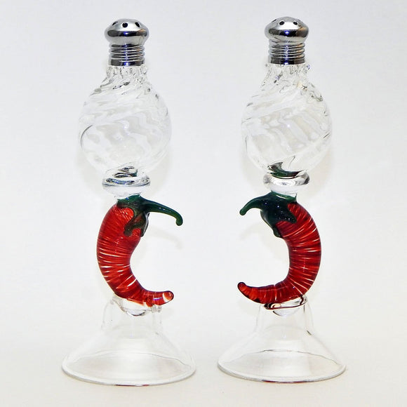 Four Sisters Art Glass Chili Pepper 109 Salt and Pepper Shaker Artistic Glass Salt and Pepper Shakers