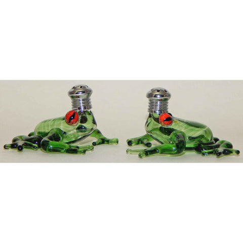 Four Sisters Art Glass Clear Green Frog Blown Glass Salt and Pepper Shaker 254 Artistic Handblown Art Glass