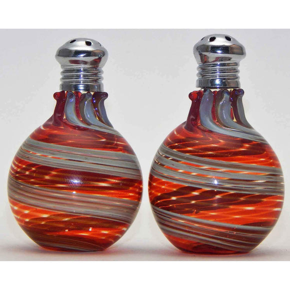 Four Sisters Art Glass Cream and Red Blown Glass Salt and Pepper Shaker 310 Artistic Handblown Art Glass