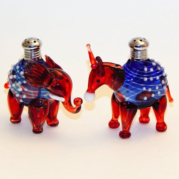 Four Sisters Art Glass Donkey and Elephant Mix and Match 275 Salt and Pepper Shaker Artistic Glass Salt and Pepper Shakers