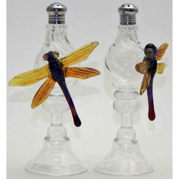 Four Sisters Art Glass Dragonfly Blown Glass Salt and Pepper Shaker 101 Artistic Glass Salt and Pepper Shakers