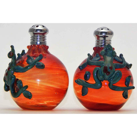 Four Sisters Art Glass Frog on Red Bottle Blown Glass Salt and Pepper Shaker 263 Artistic Handblown Art Glass