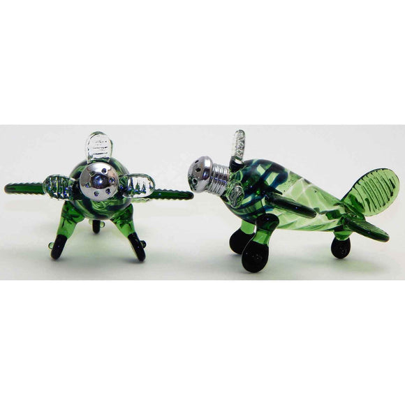 Four Sisters Art Glass Green Airplane Blown Glass Salt and Pepper Shaker 206 Artistic Glass Salt and Pepper Shakers