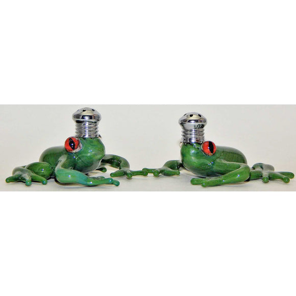 Four Sisters Art Glass Green Frog Blown Glass Salt and Pepper Shaker 253 Artistic Glass Salt and Pepper Shakers
