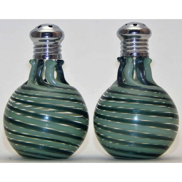 Four Sisters Art Glass Green and Mint Blown Glass Salt and Pepper Shaker 307 Artistic Glass Salt and Pepper Shakers
