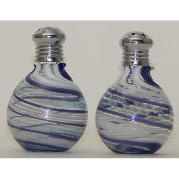 Four Sisters Art Glass Light Blue Purple and White Blown Glass Salt and Pepper Shaker 312 Artistic Handblown Art Glass