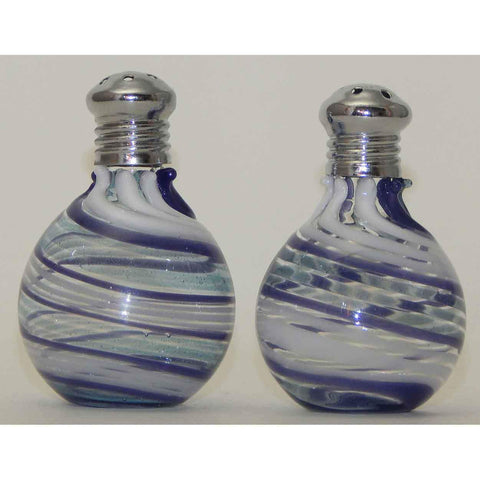 Four Sisters Art Glass Light Blue Purple and White Blown Glass Salt and Pepper Shaker 312 Artistic Glass Salt and Pepper Shakers