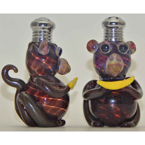Four Sisters Art Glass Monkey Blown Glass Salt and Pepper Shaker 261 Artistic Glass Salt and Pepper Shakers