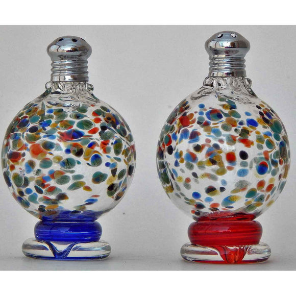 Four Sisters Art Glass Multi Blown Glass Freckle Salt and Pepper Shaker 216 Artistic Glass Salt and Pepper Shakers.jpg