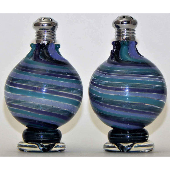 Four Sisters Art Glass Multi Stripe Blown Glass Salt and Pepper Shaker 217 Artistic Glass Salt and Pepper Shakers